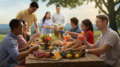 Një grup miqsh në Parajsë shijojnë një vakt bashkë.