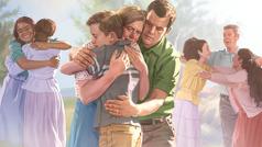 Njerëz që përqafojnë miq e të afërm të ringjallur.