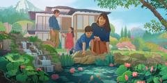 家族が楽しそうに庭で過ごしている。