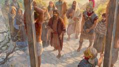 Jesus am Marterpfahl. Vor ihm stehen der Apostel Johannes, Maria, römische Soldaten und andere.