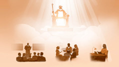 Jesus sitting on his heavenly throne as rays of Jehovah's glory shine down on him. Below him are scenes of a congregation meeting, family worship, and a sister studying alone. The scenes are repeated in paragraphs8 and 11-14.