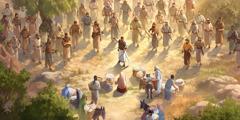 Abigail si inchina davanti a Davide e ai suoi uomini armati. I servitori di Abigail mettono per terra delle ceste piene di cibo per loro.