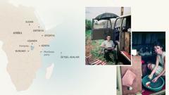 Şəkillər: 1)Afrikanın xəritəsində Stiven Hardinin xidmət etdiyi bəzi ərazilər göstərilib. 2)Stiven qardaş furqonun yanında açılıb-yığılan stulda oturub. 3)Stiven qardaşın birinci arvadı Barbara plastmas ləyəndə tərəvəzləri yuyur.