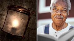 Serie de imágenes: 1. Una llama protegida dentro de un farol expuesto al viento y la lluvia. 2. Unhermano mayor con una Biblia abierta en las manos.