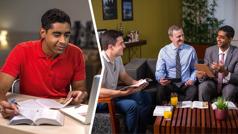 Kolazh: 1. Një vëlla përgatit materialin për një studim në të cilin e kanë ftuar. 2. I njëjti vëlla merr pjesë në diskutim gjatë studimit.