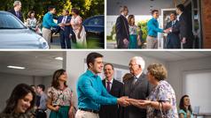 Kolazh: 1. Vëllai që drejton studimin, gruaja e tij dhe studenti takojnë një çift te parkingu i Sallës së Mbretërisë. 2. Dy vëllezër mirëpresin studentin në hyrje të Sallës së Mbretërisë. 3. Brenda Sallës së Mbretërisë, studenti përshëndet një çift tjetër, të cilët janë të lumtur që e takojnë.
