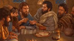 Isa saçak başynda çöregi bölüp, şägirtlerine geçirýär.