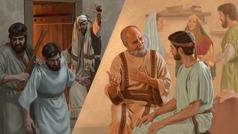 Şikil: 1. Pawlos ça Fêrisî emir dide ku şagirtekî Îsa Mesîh bê girtin. 2. Pawlos ça şagirtê Îsa Mesîh dil dide birakî cahil.