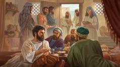 يسوع يأكل مع متى وجامعي الضرائب. اثنان من القادة الدينيين واقفان عند الباب يتذمران