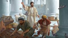 يسوع يطرد تاجرَين من الهيكل. التاجران يأخذان حيواناتهما ويبتعدان عن الطريق