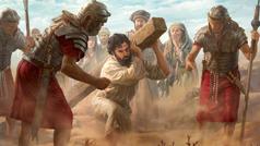 يسوع يحمل خشبة آلامه امام الناس تحت ضغط من جنود رومان