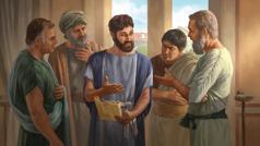تيموثاوس يتحدث الى شيوخ وفي يده كتاب