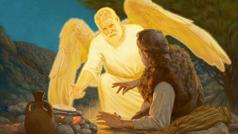 Ein Engel weckt Elia und fordert ihn auf, etwas zu essen. Neben Elia befindet sich ein runder Laib Brot auf heißen Steinen und ein Krug Wasser.