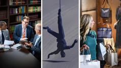 Collage: 1.A brother pridefully rejects counsel from two elders. 2.A man caught in a snare hangs helplessly upside down. 3.A sister carrying shopping bags looks longingly at a store window.