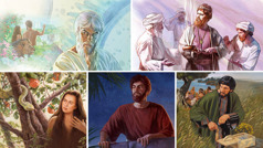Collage: Examples of pride and greed. Satan, King Uzziah, Eve, King David, and Judas Iscariot. The scenes are repeated in this article in paragraphs4, 7, 9, 10, and12.