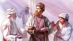 King Uzziah holding a censer as the chief priest and other priests try to stop him.