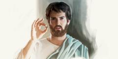 Jesus hält einen Denar zwischen den Fingern.