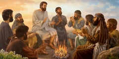 Jesus and some of his disciples sitting around a campfire. They sing and clap their hands as one of them plays the flute.