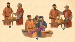 Kolazh: 1. Zotëria i jep një skllavi dy qese me pará. 2. Skllavi bën pazar me tregtarë pëlhurash cilësore. 3. Skllavi i çon zotërisë katër qese me pará.