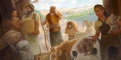 Noé y su familia entran en el arca con muchos animales y provisiones.