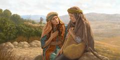 Ruth spricht auf der Straße nach Israel unter Tränen mit Noomi. Orpa geht zurück nach Moab.