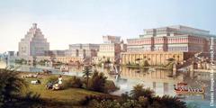 고대 니네베의 건축물과 기념물들을 묘사한 그림.