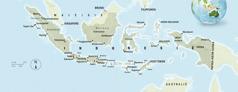 Een landkaart van Indonesië