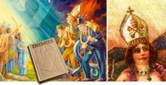 Karikaturen van de slang en de hoer die de mijter van de paus dragen