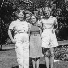 Johanna Harp, her two daughters, and a family friend