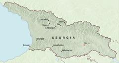 Cartina della Georgia con le città a cui furono assegnati i pionieri per cinque mesi