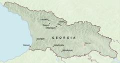 Harta Georgiei, pe care sunt marcate locurile unde au fost repartizați pionierii pentru o perioadă de cinci luni