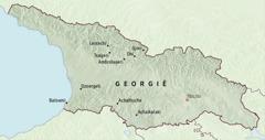 Een kaart van Georgië waarop plaatsen zijn aangeduid waaraan pioniers voor vijf maanden werden toegewezen