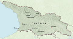 Мапа Грузије са местима у којима су пионири служили пет месеци