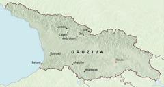 Zemljevid Gruzije z označenimi kraji, v katere so bili pionirji dodeljeni za pet mesecev.