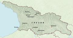 Карта Грузии, на которой отмечены места, куда на пять месяцев были назначены пионеры