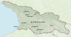 En karta över Georgien som visar till vilka platser pionjärer blev förordnade att tjäna under fem månader.