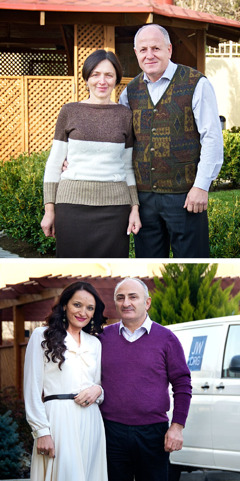 Brothers Zaza Jikurashvili and Aleko Gvritishvili and their wives