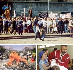 Prosvjed jedne ekstremističke pravoslavne skupine u Gruziji; javno spaljivanje naše literature; napad na članove skupštine