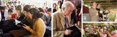 الحضور يصفق فيما يعلن جفري جاكسون عن اصدار ترجمة العالم الجديد بالجورجية؛ شهود يتصفحون الكتاب المقدس الجديد