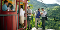 Jehovah's Witnesses preach at the cable-car station in Khulo