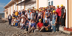 Georgian Witnesses and international servants work together during the Assembly Hall construction in Tbilisi
