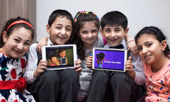 Kurdish children enjoy the Caleb & Sophia videos