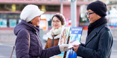 Jehovah's Witnesses in Mongolia participate in public witnessing despite the bitter cold