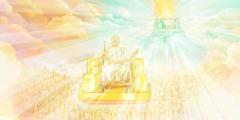 Jehovah God, Jesus and the 144,000 seated on thrones in heaven