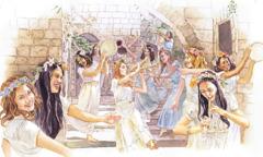 Virgin companions of the bride rejoicing