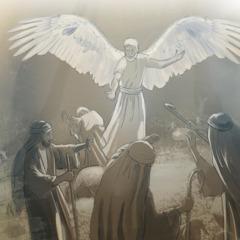El ángel de Jehová hablando con los pastores cerca de Belén