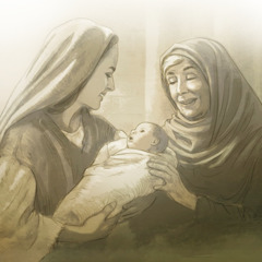 Mary holds the baby Jesus as the prophetess Anna gives thanks to God