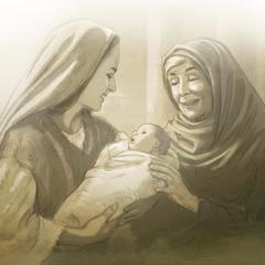María sostiene al niño Jesús mientras la profetisa Ana le da las gracias a Dios