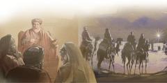 El rey Herodes preguntando sobre el Cristo. Los astrólogos de Oriente siguiendo la estrella