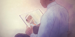 A man using the Bible as a mirror to check his personality